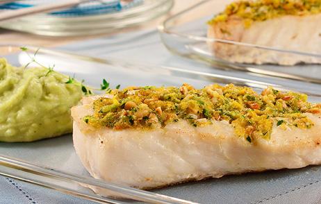 purê de batata doce com peixe crocante
